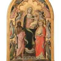 Giovanni dal Ponte (Giovanni di Marco di Giovanni, detto) Firenze 1385-1437/1438 Madonna col Bambino tra i santi Giovanni battista, Caterina e due angeli Nell'incorniciatura: Angeli Secondo quarto del XV secolo Tempera su tavola, cm 114,3 x 67,6 Hartford (Connecticut), Wadsworth Atheneum Museum of Art, The Ella Gallup Sumner and Mary Catlin Sumner Collection Fund
