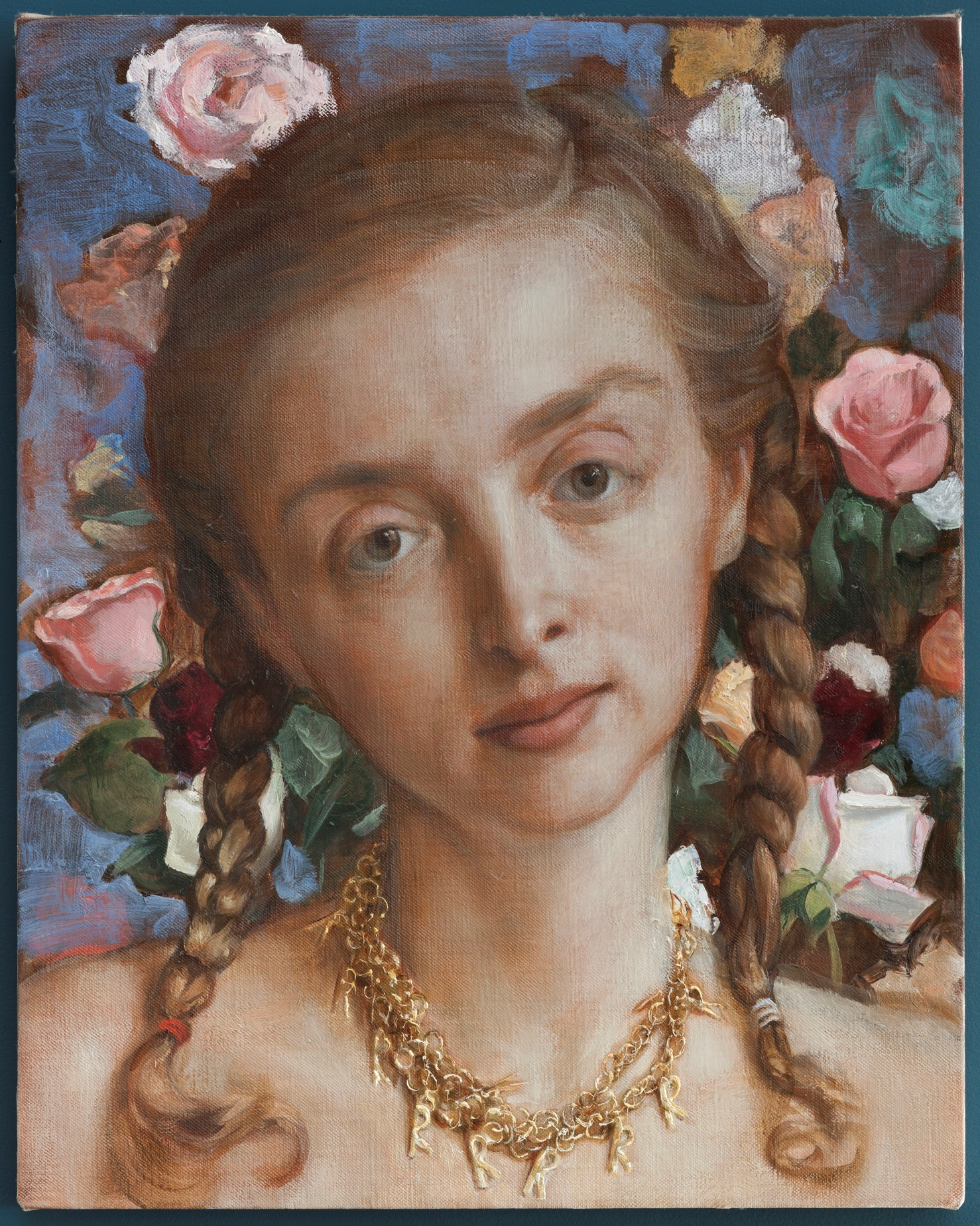 Rachel in the Garden, 2003          Olio su tela /Oil on canvas           50.8 x 40.6 cm / 20 x 16 inches Private Collection © John Currin. Courtesy Gagosian Gallery. Photography by Rob McKeever