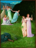 Pierre Puvis de Chavannes (Lione 1824 – Parigi 1898) Les Jeunes Filles et la Mort (Le fanciulle e la morte)  1872 Olio su tela, cm 146,4x117,2 Williamstown, Massachusetts,  Sterling and Francine Clark Art Institute